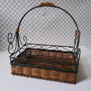 Wicker and metal sectioned basket